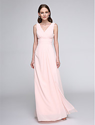 cheap -Sheath / Column V Neck Floor Length Chiffon Bridesmaid Dress with Criss Cross / Ruched