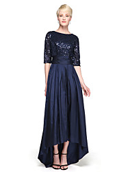 cheap -A-Line Jewel Neck Asymmetrical Taffeta / Sequined Bridesmaid Dress with Sequin / Bow(s) / Sparkle & Shine