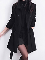 cheap -Daily / Work Street chic Spring / Winter Long Coat, Solid Colored Stand Long Sleeve Wool Black / Yellow / Red