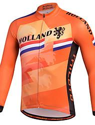 cheap -Miloto Men's Long Sleeve Cycling Jersey Orange Stripes Bike Shirt Sweatshirt Jersey Mountain Bike MTB Road Bike Cycling Breathable Quick Dry Reflective Strips Sports 100% Polyester Clothing Apparel