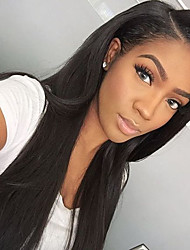 cheap -Human Hair Glueless Lace Front Lace Front Wig style Straight Wig 130% Density Natural Hairline African American Wig 100% Hand Tied Women's Long Human Hair Lace Wig