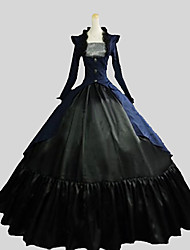 cheap -Gothic Lolita Victorian Dress Outfits Women's Cotton Party Prom Japanese Cosplay Costumes Plus Size Customized Black Ball Gown Solid Colored Poet Sleeve Long Sleeve Ankle Length