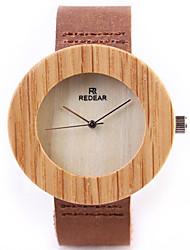 cheap -Men's Women's Fashion Watch Unique Creative Watch Wood Watch Quartz Leather Brown / Analog Casual - Brown