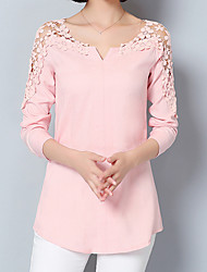 cheap -Women's Formal Going out Work Street chic / Sophisticated Blouse - Solid Colored Lace Blushing Pink / Spring / Summer