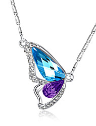 cheap -Women's Crystal Pendant Necklace Solitaire Marquise Cut Wings Butterfly Animal Love Ladies Elegant Fashion Crystal Rhinestone Purple Light Green Pink Light Blue Necklace Jewelry For Party Daily Casual