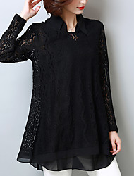 cheap -Women's Going out Work Street chic / Chinoiserie Plus Size Blouse - Solid Colored Shirt Collar Blue / Summer / Lace