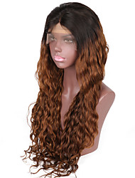 cheap -Human Hair Glueless Lace Front Lace Front Wig Beyonce style Brazilian Hair Natural Wave Ombre Wig 130% 150% Density with Baby Hair Ombre Hair Natural Hairline African American Wig 100% Hand Tied