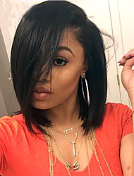 cheap -Human Hair Full Lace Wig Bob Side bangs Kardashian style Brazilian Hair Straight Natural Black Wig 130% Density with Baby Hair Natural Hairline African American Wig 100% Hand Tied Women's Short
