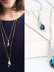 Недорогие -Жен. Ожерелья с подвесками Длиные Двойной слой Мода Синтетические драгоценные камни Стразы Сплав Серебряный Ожерелье Бижутерия Назначение Повседневные
