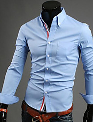 cheap -Men's Plus Size Solid Colored Basic Shirt Business Daily Work Weekend Button Down Collar Wine / White / Black / Dark Blue / Light Blue / Spring / Fall / Long Sleeve