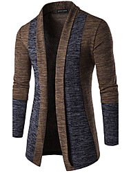 cheap -Men's Solid Colored Cardigan Long Sleeve Slim Regular Sweater Cardigans V Neck Spring Dark Gray Brown Gray / Weekend
