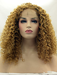 cheap -Synthetic Lace Front Wig Kinky Curly Blonde Synthetic Hair Natural Hairline Blonde Wig Women's Lace Front