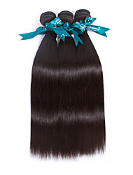 cheap -3 Bundles Brazilian Hair Straight Virgin Human Hair Natural Color Hair Weaves / Hair Bulk 8-26 inch Natural Black Human Hair Weaves Human Hair Extensions / 10A