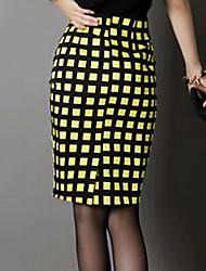 cheap -Women's Daily / Club Street chic Bodycon Skirts - Plaid Black Yellow XL XXL XXXL