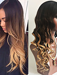 cheap -130 density brazilian virgin hair lace front wigs loose wave hair two tone ombre t1b 27 color virgin human hair lace wigs for fashion woman