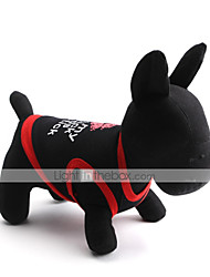 cheap -Cat Dog Shirt / T-Shirt Dog Clothes Breathable Black Black / Red White Costume Cotton Letter & Number XS S M L