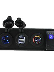 Недорогие -4 в 1 автомобильный прикуриватель постоянного тока 12 В светодиодный источник питания 3.1a двойной разъем USB