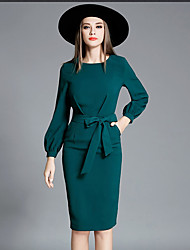 cheap -Women's Daily Going out Work Street chic Sophisticated Lantern Sleeve Bodycon Sheath Dress - Solid Colored Bow Spring Green M L XL