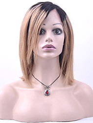 cheap -Remy Human Hair Full Lace Wig Bob Side bangs style Brazilian Hair Straight Wig 130% Density with Baby Hair Ombre Hair Natural Hairline African American Wig 100% Hand Tied Women's Short Medium Length