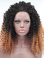 cheap -heat resistant synthetic lace front wigs kinky curly hair two tone ombre t1b 27 color synthetic hair fiber wigs