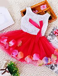 cheap -Toddler Girls' Sweet Princess Party Birthday Festival Floral Lace Bow Layered Sleeveless Regular Regular Dress Red