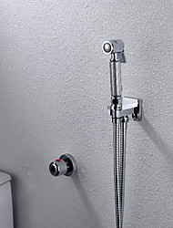 cheap -Contemporary Wall Mounted Thermostatic Brass Valve Single Handle Two Holes Chrome , Bidet Faucet