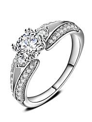 Недорогие -Кольцо Обручальное кольцо Цирконий Белый Циркон Серебристый Свадьба Для вечеринок Бижутерия