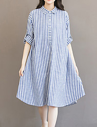 cheap -Women's Fine Stripe Asymmetrical Plus Size Blue Dress Daily Going out Weekend Loose Striped Shirt Collar S M Loose / Cotton