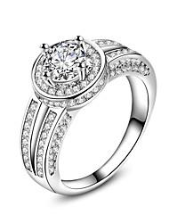 Недорогие -Жен. Кольцо Обручальное кольцо Цирконий Муассанит Белый Циркон Серебристый Мода Свадьба Для вечеринок Бижутерия