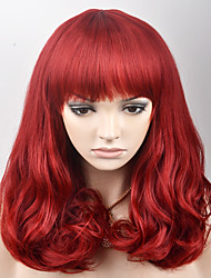 cheap -Synthetic Wig Loose Wave Loose Wave With Bangs Wig Medium Length Red Synthetic Hair Women's Red