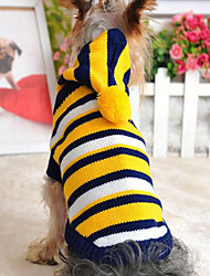 cheap -Cat Dog Sweater Dog Clothes Yellow Red Costume Cotton Stripes XS S M L