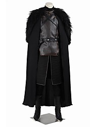 cheap -Game of Thrones Jon Snow Cosplay Costume Halloween Props Party Costume Men's Women's Movie Cosplay Black Vest Top Pants Christmas Halloween Carnival Leather Linen Cotton / Gloves / Cloak