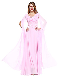 cheap -A-Line Jewel Neck Floor Length Chiffon Long Sleeve Elegant Mother of the Bride Dress with Beading 2020