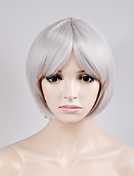cheap -Synthetic Wig Straight Straight Bob Wig Short Silver Synthetic Hair Women's White
