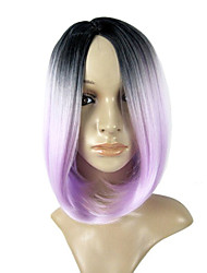 cheap -Synthetic Wig Straight Straight Bob Wig Blonde Blonde Grey Blue Purple Synthetic Hair Women's Middle Part Bob Ombre Hair Blue Blonde Purple