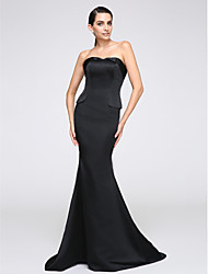 cheap -Mermaid / Trumpet Formal Evening Dress Strapless Sleeveless Sweep / Brush Train Jersey with Pleats 2021