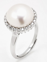 cheap -Women's Ring Bezel Set Ring Silver Pearl Imitation Pearl Silver Daily Casual Jewelry