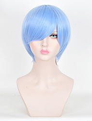 cheap -cosplay sky blue short straight wig japanese anime men hairstyle lolita fashion heat resistant synthetic daily wig