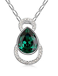 cheap -Crystal Pendant Necklace Single Strand Basic Alloy Light Blue Light Green Dark Green Necklace Jewelry For Daily Casual