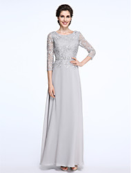 cheap -Sheath / Column Scoop Neck Ankle Length Chiffon / Floral Lace 3/4 Length Sleeve Elegant / Plus Size Mother of the Bride Dress with Lace 2020