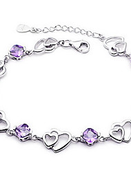 cheap -Women's Crystal Chain Bracelet Love Ladies Basic Fashion Sterling Silver Bracelet Jewelry Purple For Wedding Party Gift Daily