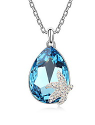 cheap -Crystal High End Crystal Pendant Necklace Single Strand Basic Alloy White Dark Blue Light Blue Necklace Jewelry For Daily Casual