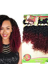 cheap -Hair Weaves Brazilian Hair Curly Deep Wave Jerry Curl Human Hair Extensions Virgin Human Hair Ombre Hair Weaves / Hair Bulk Ombre