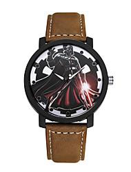 cheap -Men's Women's Fashion Watch Quartz Leather Black / Brown / Analog Casual - Black Brown
