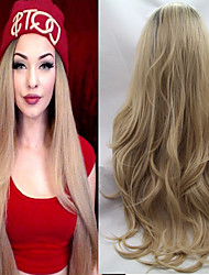 cheap -Synthetic Lace Front Wig Wavy Wavy Lace Front Wig Blonde Long Blonde Synthetic Hair Women's Ombre Hair Dark Roots Natural Hairline Blonde