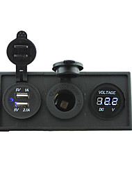 abordables -12v / 24v puissance port usb charger3.1a et 12v jauge de voltmètre avec panneau de support de logement pour bateau de voiture camion rv