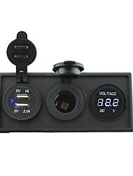 cheap -12V/24V Power charger3.1A USB port and 12V voltmeter gauge with housing holder panel for car boat truck RV