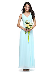 cheap -Sheath / Column V Neck Floor Length Chiffon Bridesmaid Dress with Side Draping / Criss Cross