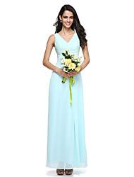 cheap -Sheath / Column V Neck Floor Length Chiffon Bridesmaid Dress with Criss Cross / Side Draping