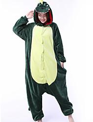 cheap -Adults' Kigurumi Pajamas Dragon Dinosaur Onesie Pajamas Coral fleece Green Cosplay For Men and Women Animal Sleepwear Cartoon Festival / Holiday Costumes / Leotard / Onesie / Leotard / Onesie